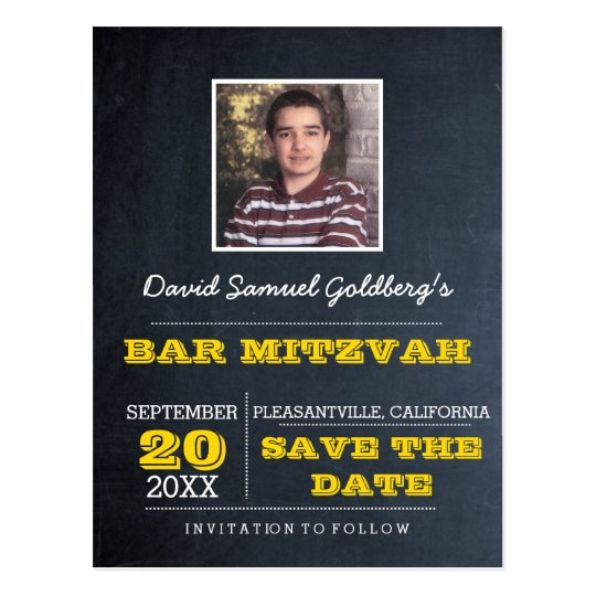Chalkboard Gold Bar Mitzvah Photo Save the Date