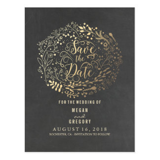 chalkboard gold floral bouquet save the date postcard