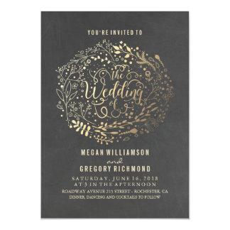 Chalkboard Gold Floral Bouquet Wedding 13 Cm X 18 Cm Invitation Card