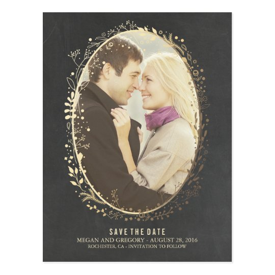 chalkboard gold floral frame photo save the date