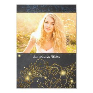 Chalkboard Gold Foil Floral Graduation 13 Cm X 18 Cm Invitation Card