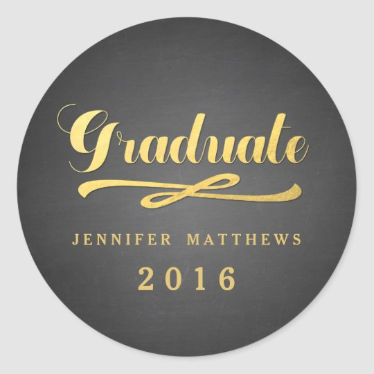 Chalkboard Gold Glamour | 2016 Graduation Sticker