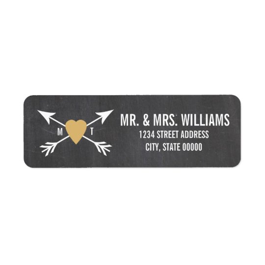 Chalkboard Gold Heart + Arrow  | Wedding Labels