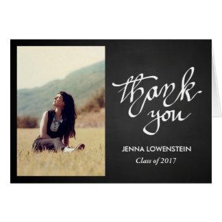 Chalkboard Graduate  Thank You Handwritten Photo Card