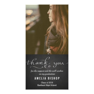 Chalkboard Graduate Thank You Typography Picture Card