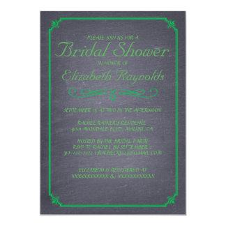 """Chalkboard Green Bridal Shower Invitations 5"""" X 7"""" Invitation Card"""