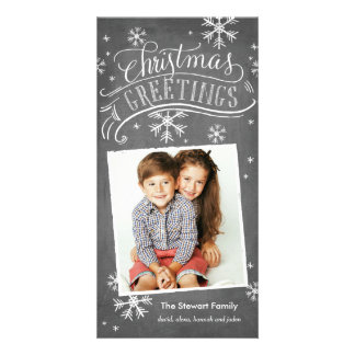 Chalkboard Greetings 1-Photo Snowflake Holiday Card