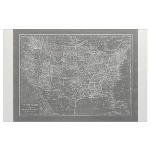 Chalkboard Grey and White United States Map Fabric