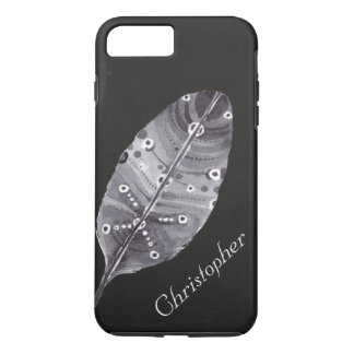 Chalkboard Grey Feather Personalized iPhone 8 Plus/7 Plus Case