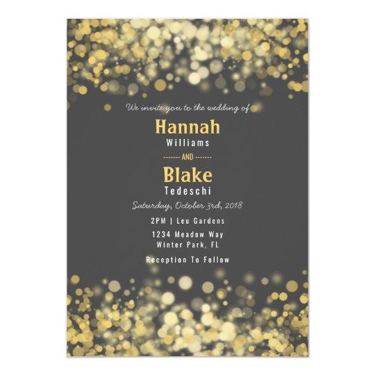 Chalkboard Grey Gold Confetti Wedding Invitation