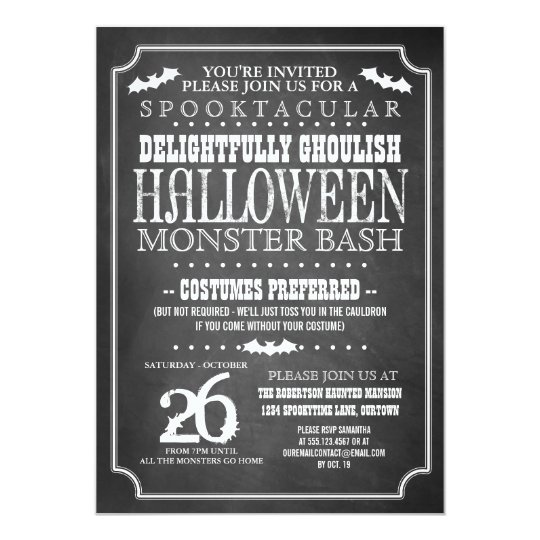 Chalkboard Halloween Costume Party Card