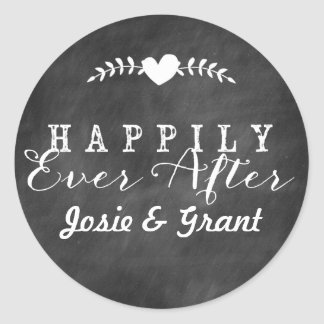 Chalkboard Happily Ever After Wedding Sticker