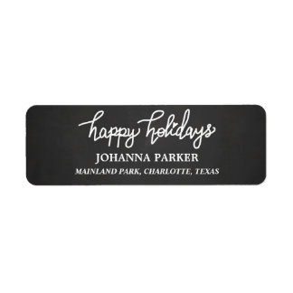 Chalkboard Happy Holidays Handwritten Typography Return Address Label