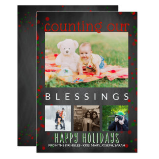 Chalkboard Happy Holidays Photo Counting Blessings Card