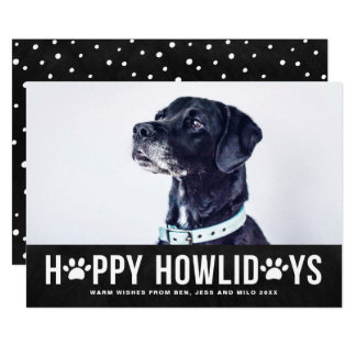Chalkboard Happy Howlidays Typography Pet Holiday Card