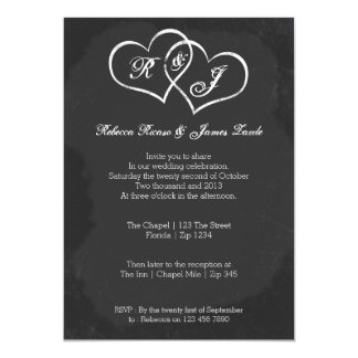 Chalkboard Heart Doodle Wedding 13 Cm X 18 Cm Invitation Card