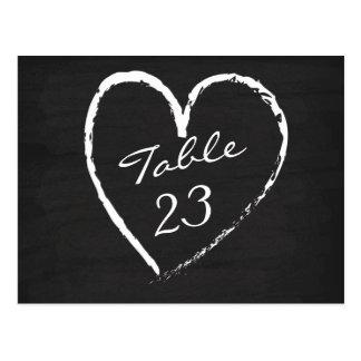 Chalkboard Heart Table Numbers Postcard