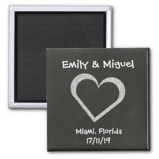 Chalkboard Heart Wedding Favor Magnet