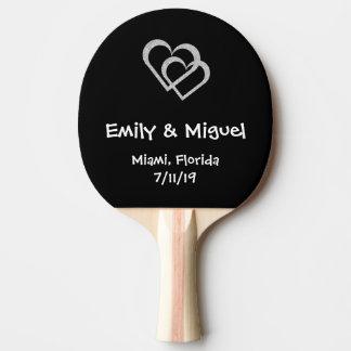 Chalkboard Heart Wedding Favor Table Tennis Bat