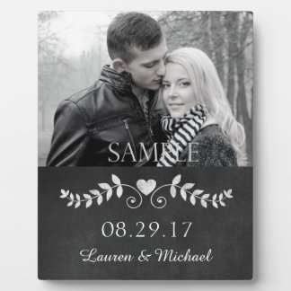 Chalkboard Heart Wedding Photo Keepsake Plaque