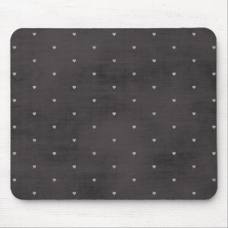 Chalkboard Hearts, Heart Polka Dots Mousepad