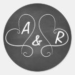 Chalkboard Hearts Round Stickers