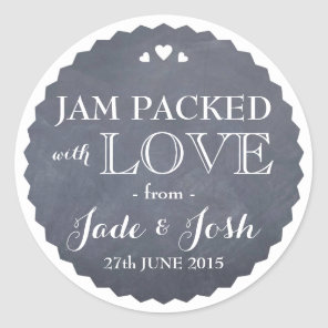 Chalkboard Hearts Wedding Favour Jar Round Sticker