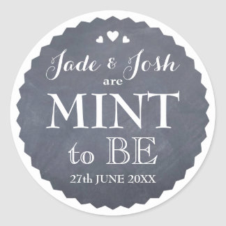 Chalkboard Hearts Wedding Mint Favor Round Classic Round Sticker