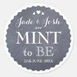 Chalkboard Hearts Wedding Mint Favour Round Round Sticker