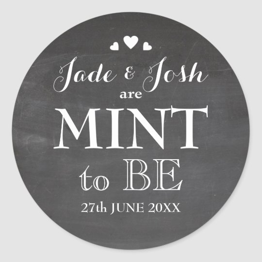 Chalkboard Hearts Wedding Mint Favour Sticker