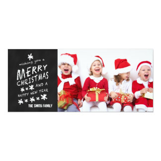 "CHALKBOARD HOLIDAY GREETING PHOTO CARD 4"" X 9.25"" INVITATION CARD"