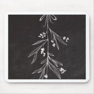 Chalkboard Holiday Mistletoe - Christmas Mouse Pads