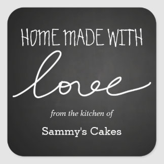 Chalkboard Home Made With Love Typography Square Sticker