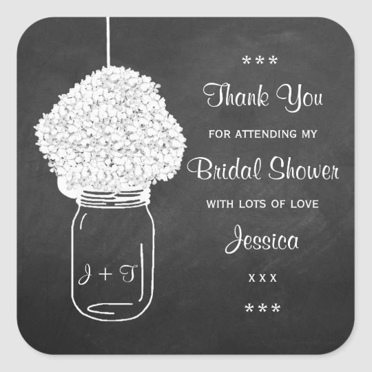 Chalkboard Hydrangea Mason Jar Bridal Shower Square Sticker