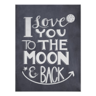 Chalkboard I Love You To The Moon And Back Poster