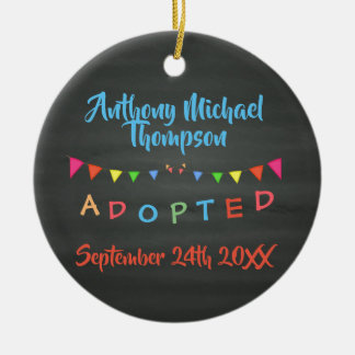 Chalkboard I was Adopted -Banners Custom Name-Date Christmas Ornament