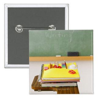 Chalkboard in classroom 15 cm square badge