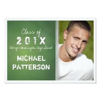 Chalkboard in Green Bold Guy Graduation Party Card