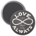 Chalkboard Infinity Love Wedding Date and Names 7.5 Cm Round Magnet