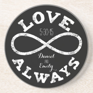Chalkboard Infinity Love Wedding Date and Names Coaster