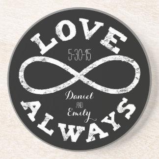 Chalkboard Infinity Love Wedding Date and Names Coasters