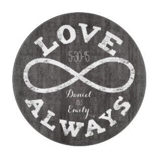 Chalkboard Infinity Love Wedding Date and Names Cutting Board