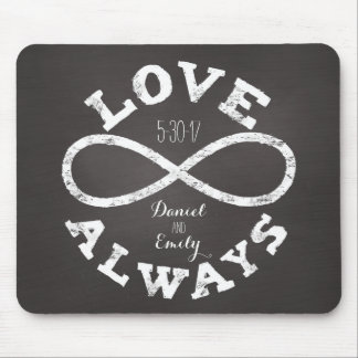 Chalkboard Infinity Love Wedding Date and Names Mouse Pad