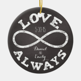 Chalkboard Infinity Love Wedding Date and Names Round Ceramic Decoration