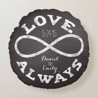 Chalkboard Infinity Love Wedding Date and Names Round Cushion