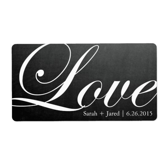 Chalkboard Inspired LOVE Wedding Label