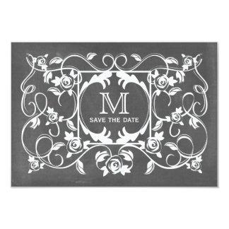 Chalkboard Inspired Roses Monogram Save The Date 9 Cm X 13 Cm Invitation Card