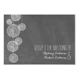 Chalkboard Inspired Twine Globes Wedding R.S.V.P. 9 Cm X 13 Cm Invitation Card