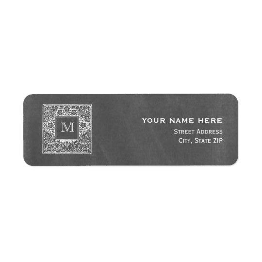 Chalkboard Inspired Wedding Monogram Address Label