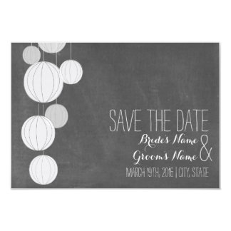 Chalkboard Inspired White Lanterns Save The Date 9 Cm X 13 Cm Invitation Card